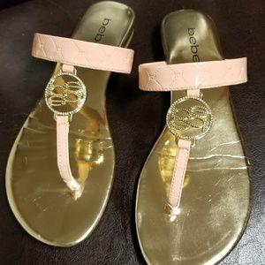 Bebe Circle Logo Peach Rhinestone Sandals